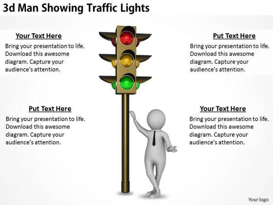 Modern Marketing Concepts 3d Man Showing Traffic Lights Business