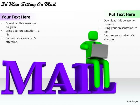 Modern Marketing Concepts 3d Man Sitting Mail Business