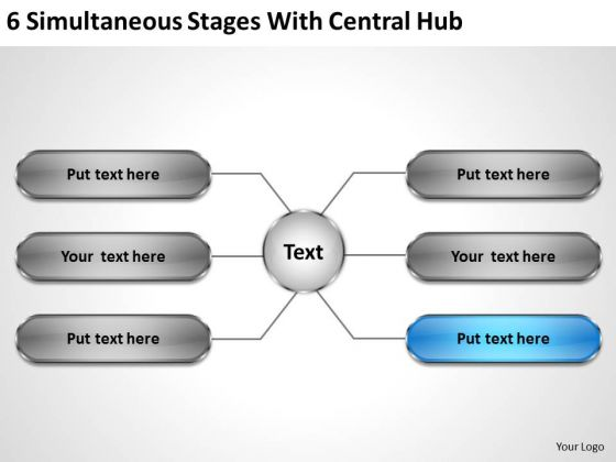Modern Marketing Concepts 6 Simultaneous Stages With Central Hub Business Plan Strategy