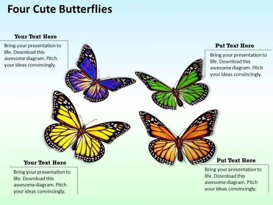 Modern Marketing Concepts Four Cute Butterflies Business Stock Images