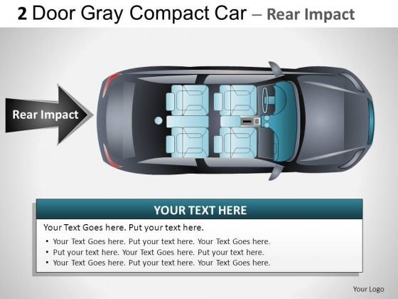 Moving 2 Door Gray Car Top PowerPoint Slides And Ppt Diagram Templates
