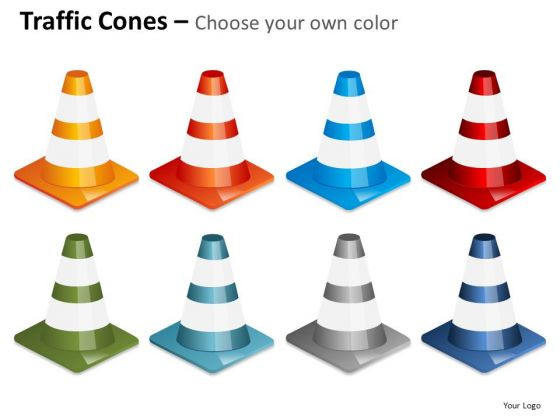 Multi Color Traffic Cones PowerPoint Slides And Ppt Diagram Templates