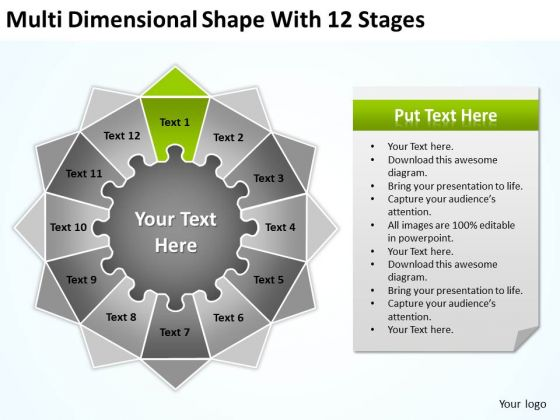 Multi Dimensional Shape With 12 Stages Ppt Business Plan Cover Letter PowerPoint Templates