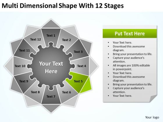 Multi Dimensional Shape With 12 Stages Ppt Business Plan Forms PowerPoint Templates
