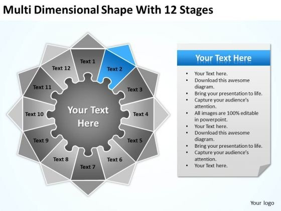 Multi Dimensional Shape With 12 Stages Ppt Business Plan Simple