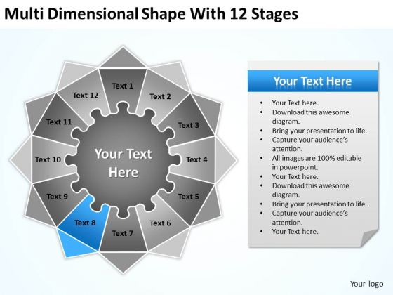 Multi Dimensional Shape With 12 Stages Ppt Creating Business Plan Template PowerPoint Slides