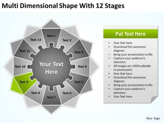 Multi Dimensional Shape With 12 Stages Ppt How To Write Business Plan PowerPoint Templates