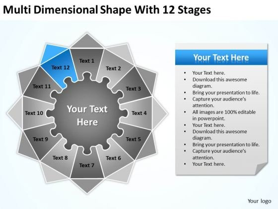 Multi Dimensional Shape With 12 Stages Ppt Outline Business Plan PowerPoint Templates