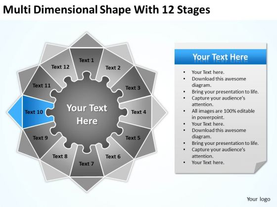Multi Dimensional Shape With 12 Stages Ppt Sample Business Plan PowerPoint Templates