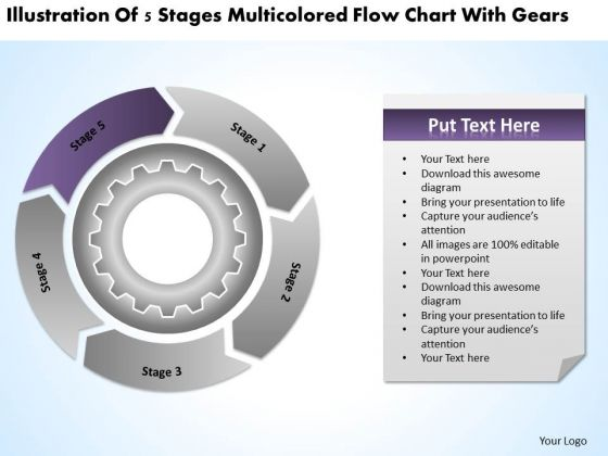 multicolored flow chart with gears ppt construction business plan template powerpoint slides powerpoint templates