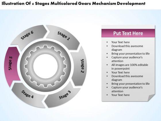 Multicolored Gears Mechanism Development Business Plan Outline Example PowerPoint Slides