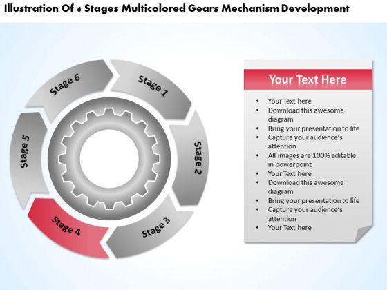 Multicolored Gears Mechanism Development Step By Business Plan PowerPoint Templates