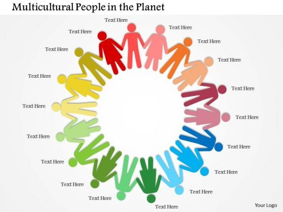 Multicolored People With Hand In Hand Showing Unity Presentation Template