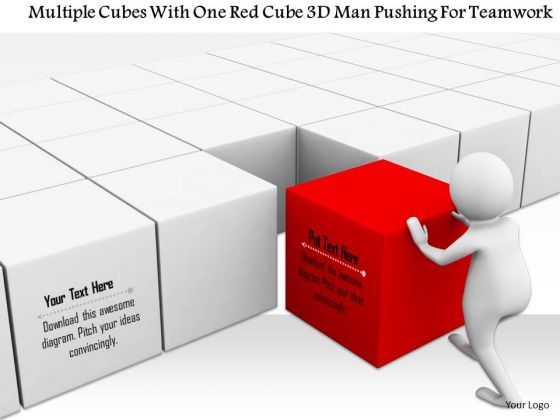 Multiple Cubes With One Red Cube 3d Man Pushing For Teamwork
