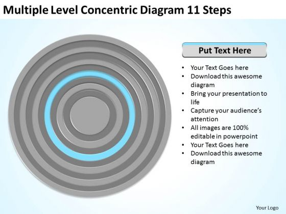 Multiple Level Concentric Diagram 11 Steps Ppt Business Plan PowerPoint Templates