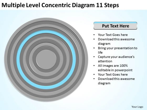 Multiple Level Concentric Diagram 11 Steps Ppt Business Plan Sample PowerPoint Slides