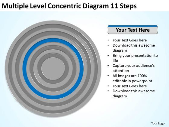 Multiple Level Concentric Diagram 11 Steps Ppt Business Template PowerPoint Templates