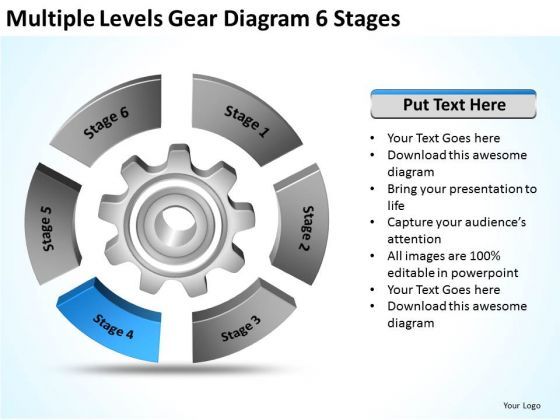 multiple levels gear diagram 6 stages ppt business action plan