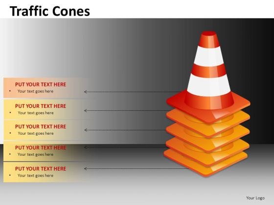 Multiple Piled Traffic Cones Editable PowerPoint Clipart Graphics Slides