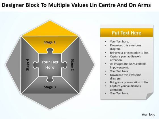 Multiple Values Lin Centre And On Arms Ppt Business Plan Sample PowerPoint Templates