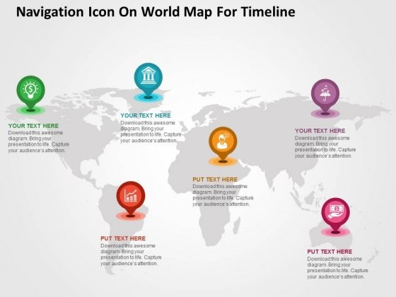 navigation icon on world map for timeline powerpoint templates