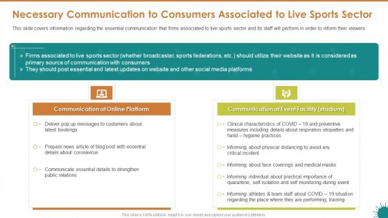 Necessary Communication To Consumers Associated To Live Sports Sector Topics PDF