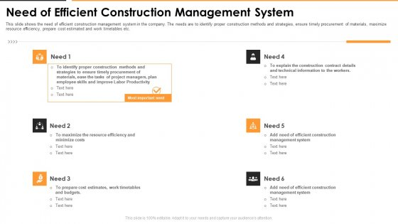 Need Of Efficient Construction Management System Infographics PDF
