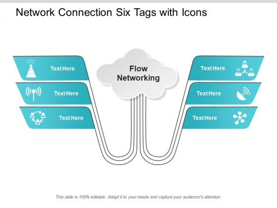 Network Connection Six Tags With Icons Ppt PowerPoint Presentation Gallery Gridlines