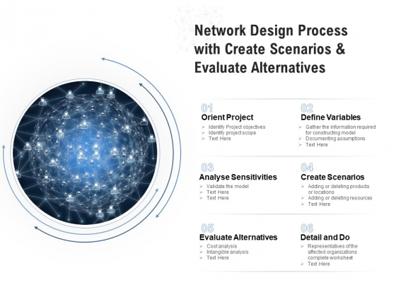 Network Design Process With Create Scenarios And Evaluate Alternatives Ppt PowerPoint Presentation Gallery Picture PDF