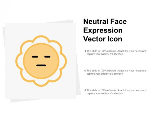 Neutral Face Expression Vector Icon Ppt PowerPoint Presentation Summary Guidelines