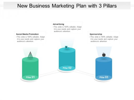 New Business Marketing Plan With 3 Pillars Ppt PowerPoint Presentation File Slide Download PDF