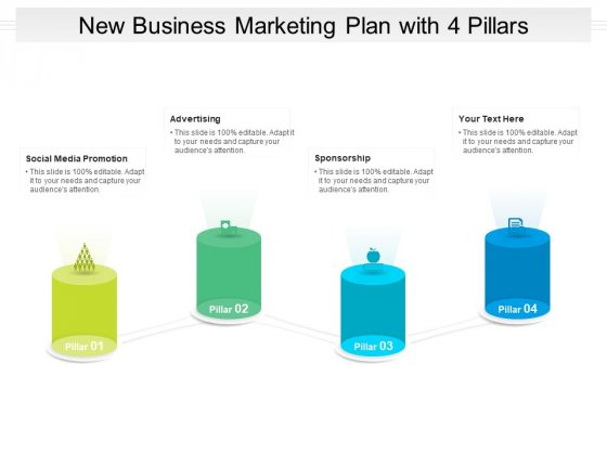 New Business Marketing Plan With 4 Pillars Ppt PowerPoint Presentation File Deck PDF