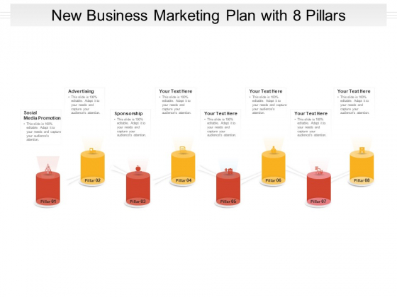New Business Marketing Plan With 8 Pillars Ppt PowerPoint Presentation Ideas Inspiration PDF
