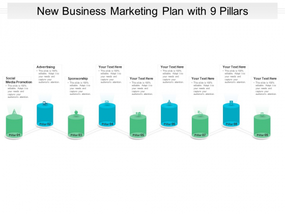 New Business Marketing Plan With 9 Pillars Ppt PowerPoint Presentation Slides Examples PDF