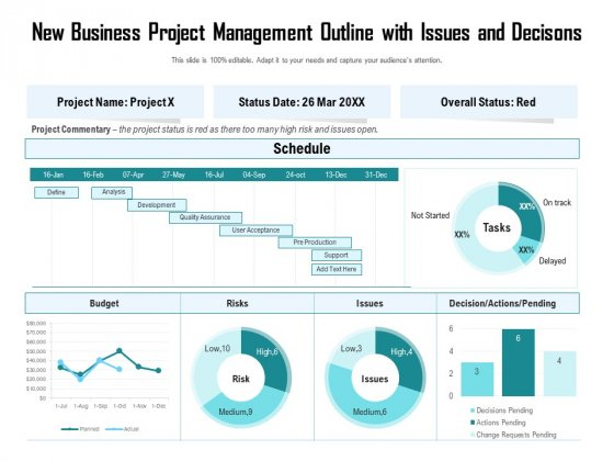 New Business Project Management Outline With Issues And Decisons Ppt PowerPoint Presentation Background Images PDF