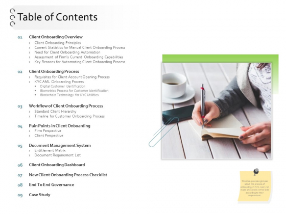 New Client Onboarding Automation Table Of Contents Ppt Professional Model PDF