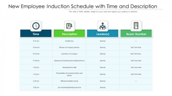 New Employee Induction Schedule With Time And Description Ppt Portfolio Layout PDF