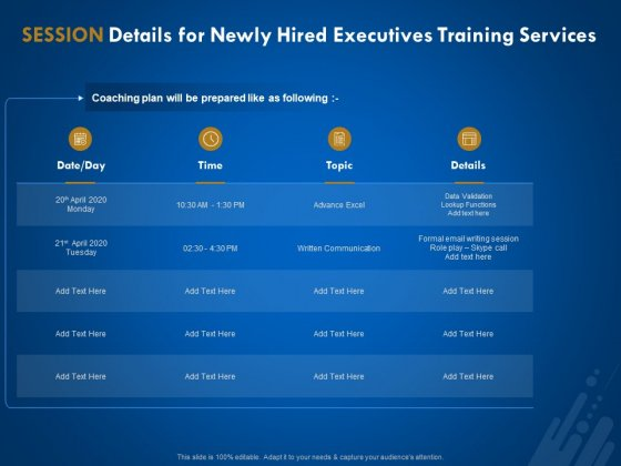 New Employee Onboard Session Details For Newly Hired Executives Training Services Ppt Styles Slide Portrait PDF