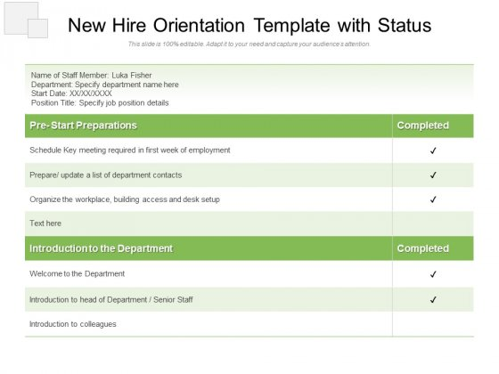 New Hire Orientation Template With Status Ppt PowerPoint Presentation File Samples PDF