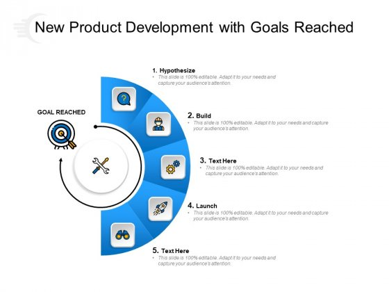 New Product Development With Goals Reached Ppt PowerPoint Presentation Inspiration Visual Aids PDF