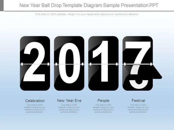 New Year Ball Drop Template Diagram Sample Presentation Ppt