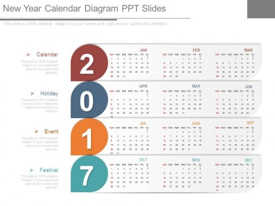 New Year Calendar Diagram Ppt Slides