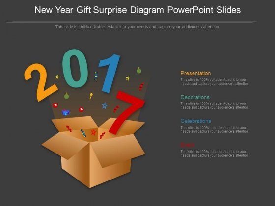 New Year Gift Surprise Diagram Powerpoint Slides