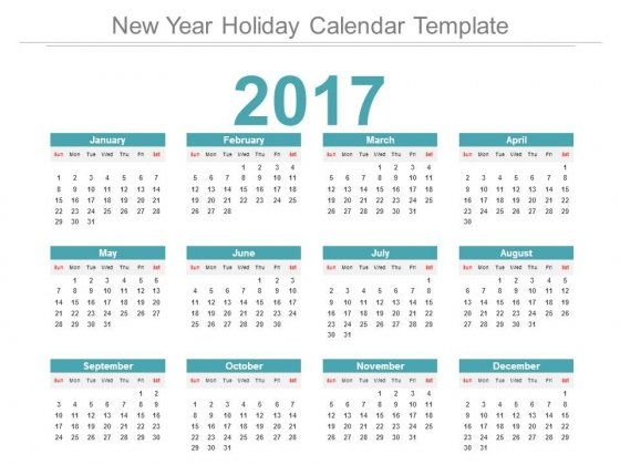 New Year Holiday Calendar Template