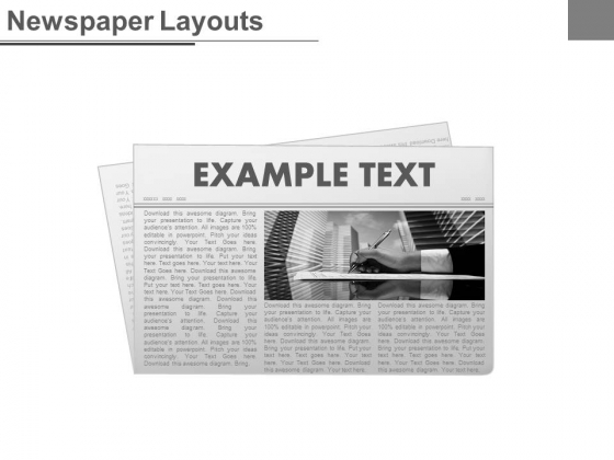 News Paper Design With Example Text Powerpoint Slides