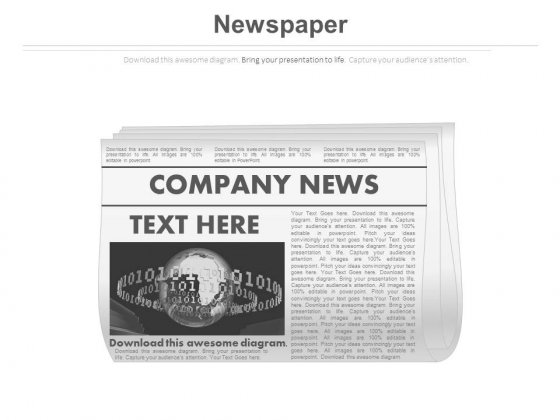 News Paper Diagram For Company News Powerpoint Slides