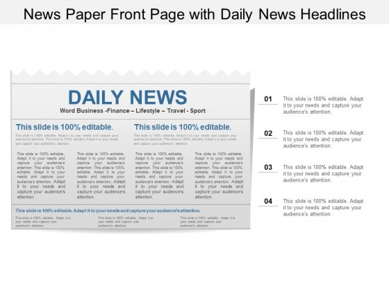 News Paper Front Page With Daily News Headlines Ppt