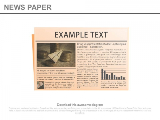 News Paper With Graph And Example Text Powerpoint Slides