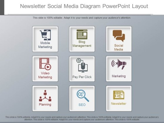 Newsletter Social Media Diagram Powerpoint Layout