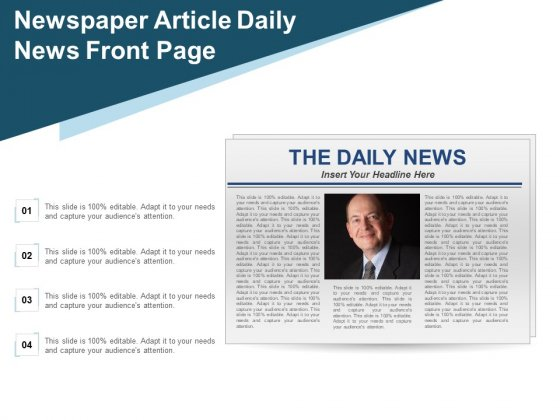 Newspaper Article Daily News Front Page Ppt Powerpoint